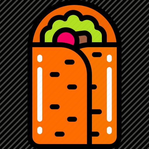 burrito, eating, fast food, take away, vegetables icon