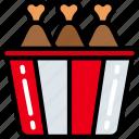 bucket, chicken, eating, fast food, take away, tub