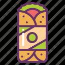 burrito, fast, food, wrap icon
