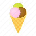 cone, cream, ice, isometric, product, snack, whipped