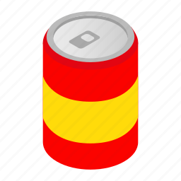 alcohol, beverage, blank, can, drink, isometric, soda icon