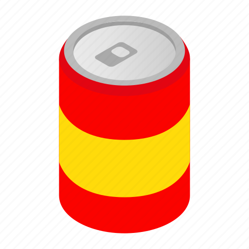 Isometric, alcohol, drink, blank, beverage, can, soda icon