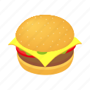 bread, bun, burger, eat, isometric, lettuce, meal