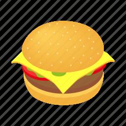 bread, bun, burger, eat, isometric, lettuce, meal icon