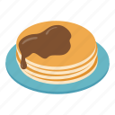 plate, isometric, pancakes, sauce, honey, breakfast, syrup icon