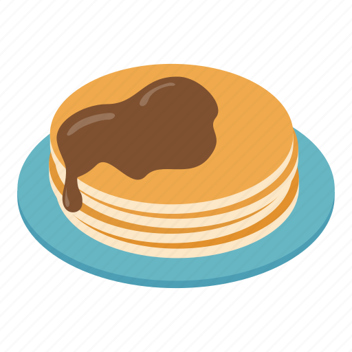 breakfast, honey, isometric, pancakes, plate, sauce, syrup icon