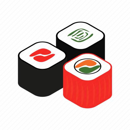 Isometric, roll, sushi, salmon, prepared, delicious, meal icon