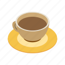 coffee, isometric, cup, espresso, caffeine, breakfast, cafe icon