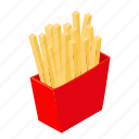 isometric, snack, potato, food, fries, french, fast icon