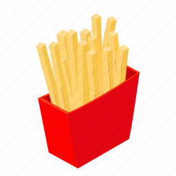 fast, food, french, fries, isometric, potato, snack icon