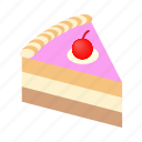 cake, dessert, holiday, isometric, piece, sweet, tasty icon