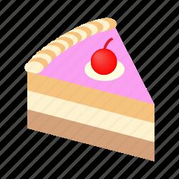 cake, dessert, holiday, isometric, piece, sweet, tasty icon