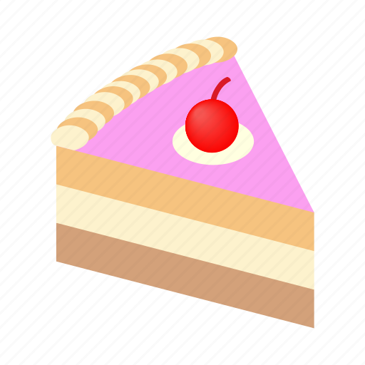 Isometric, holiday, dessert, tasty, sweet, cake, piece icon