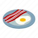 isometric, bacon, yolk, breakfast, fried, egg, meal icon