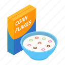 food, corn, bowl, meal, flakes, breakfast, milk icon