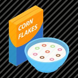 bowl, breakfast, corn, flakes, food, meal, milk icon