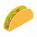 isometric, mexican, food, taco, wrap, burrito, mustache icon