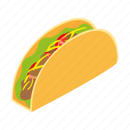 burrito, food, isometric, mexican, mustache, taco, wrap icon