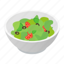 bowl, food, isometric, meal, organic, salad, vegetarian icon