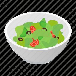 bowl, food, isometric, meal, organic, salad, vegetarian icon