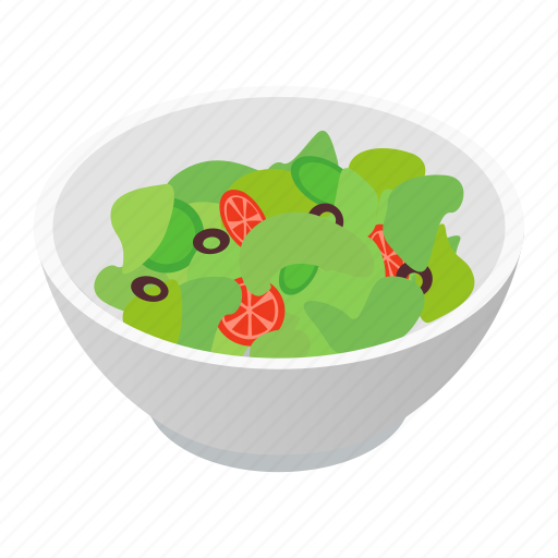 Isometric, organic, salad, food, vegetarian, bowl, meal icon