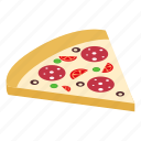 isometric, slice, salami, pepperoni, pizza, meal, italian icon
