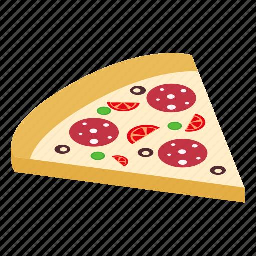 Isometric, slice, salami, pepperoni, pizza, meal, italian icon