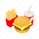fast, food, isometric, lunch, restaurant, set, snack icon
