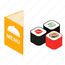brochure, cafe, isometric, meal, menu, sushi, template icon