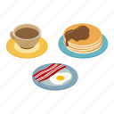 bacon, breakfast, coffee, egg, isometric, pancakes, plate icon