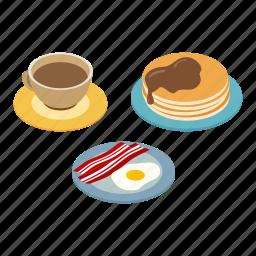 bacon, breakfast, coffee, egg, isometric, pancakes, plate icon