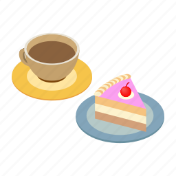 breakfast, cake, coffee, cup, espresso, isometric, piece icon