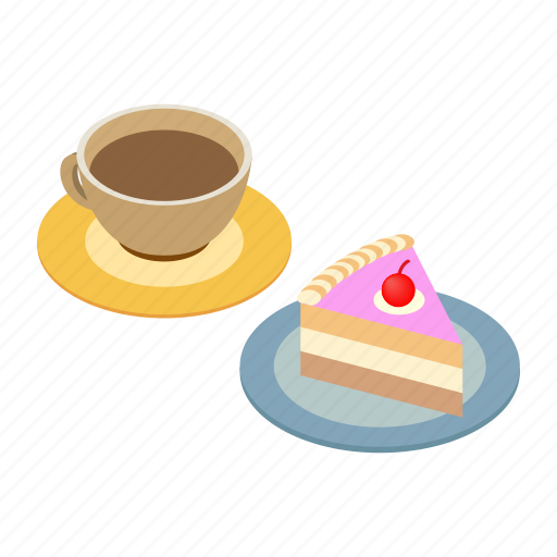 Breakfast, cake, coffee, cup, espresso, isometric, piece icon - Download on Iconfinder