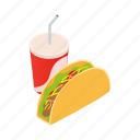 isometric, mexican, cup, food, soda, fast, taco icon