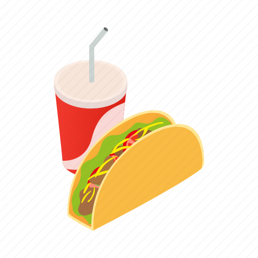 cup, fast, food, isometric, mexican, soda, taco icon