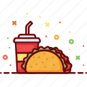 drink, fast food, food, menu, mexican, soda, taco icon