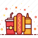 dog, eat, fast food, hot, mustard, sausage, soda icon