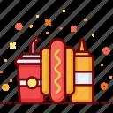 dog, eat, fast food, hot, mustard, sausage, soda