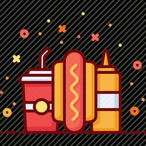 dog, eat, fast food, hot, mustard, sausage, soda icon
