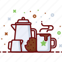 coffee, cookie, cup, hot, milk, morning, pot icon
