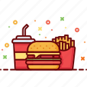 burger, drink, fast food, french fries, fries, potato, soda icon