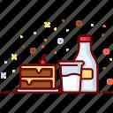 cafe, cake, drink, glass, menu, milk, sweet