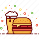 alcohol, beer, burger, drink, fast food, hamburger icon