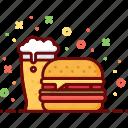 alcohol, beer, burger, drink, fast food, hamburger