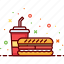 burger, drink, eat, fast food, food, sandwich, soda icon