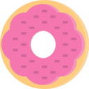 dessert, donut, doughnut, fastfood, food, snack, strawberry