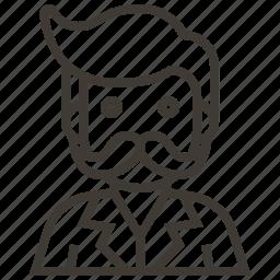 avatar, boy, man, mustache icon