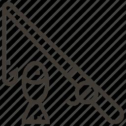 fish, fishing, fishing pole icon