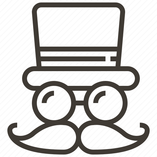 glasses, hat, mustache icon