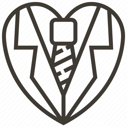 heart, love, tie icon